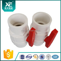 """XE"" Grey Body With PP Red Handle PVC 2 PCS Ball Valves"
