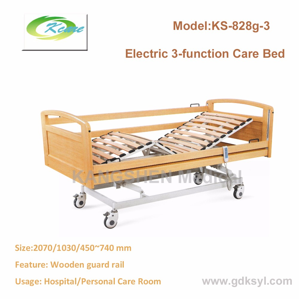3 functions electric hospital wooden bed for home care bed