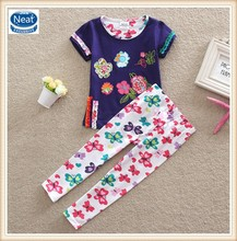 2 colors (TS220) Neat brand 2-6Y new design embroidery kids sets butterfly printed summer baby girls suits