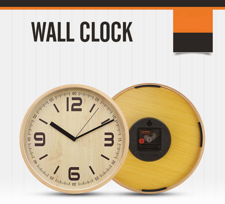 Fashion simple style wood wall clock silent sweep movement clock