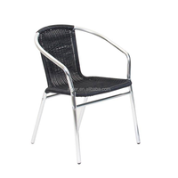 Outdoor stacking aluminum rattan chair black