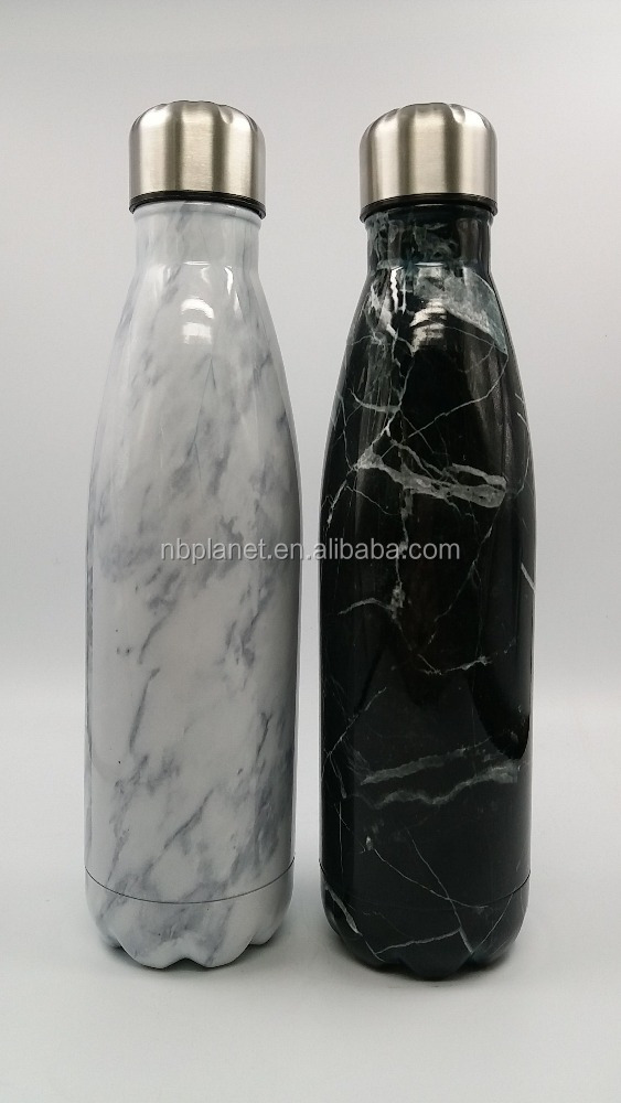 New design marble white/black vacuum insulated double walled stainless steel sports cola water bottle