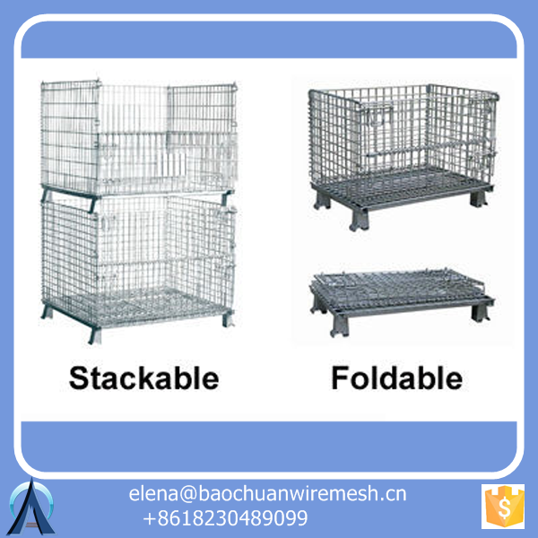Mesh Box Wire Cage / Metal Bin Storage Container / Rolling cage