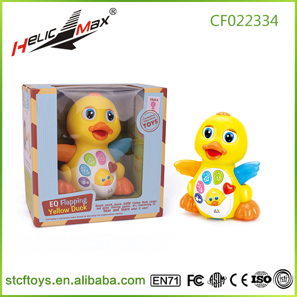 2015 Hot sell EQ flapping yellow duck New Educational toy musical Baby Toys Yellow Duck learning machine