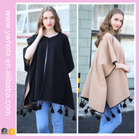 2016 Fashion women spring autumn black pure color wind tassel cloak female outwear OL office wear cute brief casual lady coats