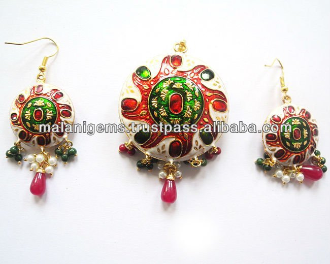 Pendant With Earring set Indian Jewellery Semi Precious Stone