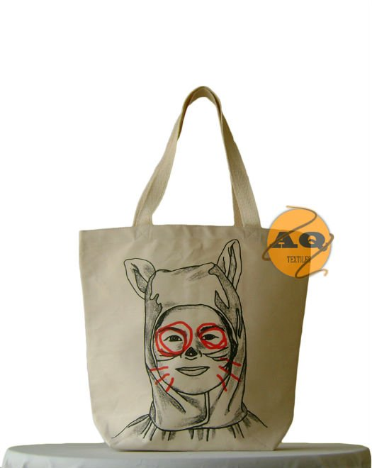 "Designer Tote Bag ""Rabbit"" from heavy canvas"