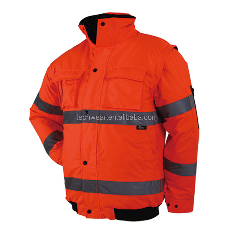 High Vis safety winter bomber Jacket with detachable sleeves