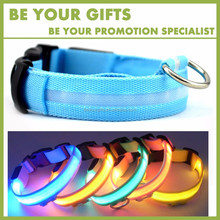 Promotional Custom Logo adjustable LED dog collar pet collars with reflective strip