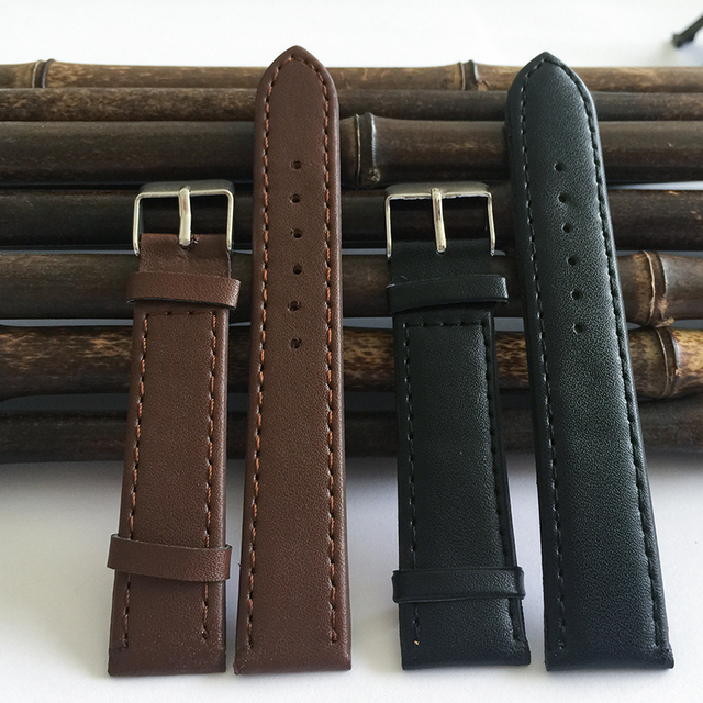 Watchband12mm to 20mm black Brown PU strap watch 2015 new fashion factory hot Smooth Buckle, watch band relogios masculinos J008