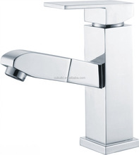 KB-15 fine apperance white square lavatory water ridge chrome plated upc solid brass pull out wash basin faucet