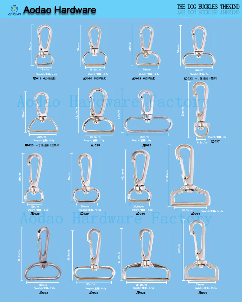 hot selling multi-type metal snap hooks for bags
