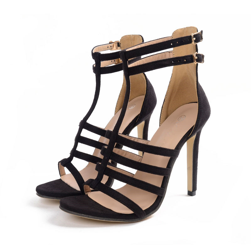 sexy black summer narrow band dress pumps shoes t-strap high heels women gladiator sandals