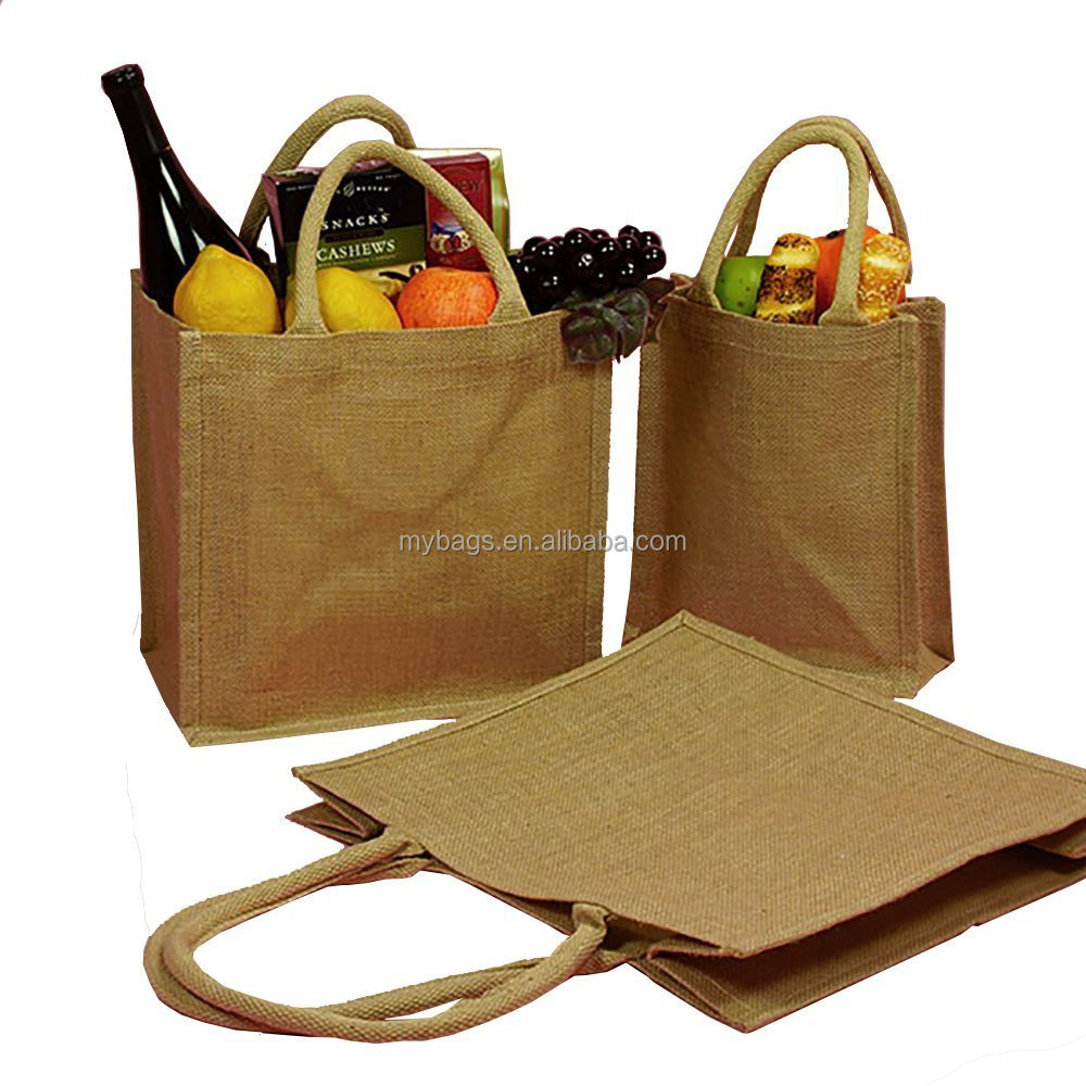 wholesale customized logo printed supermarket foldable lined jute bag for tesco