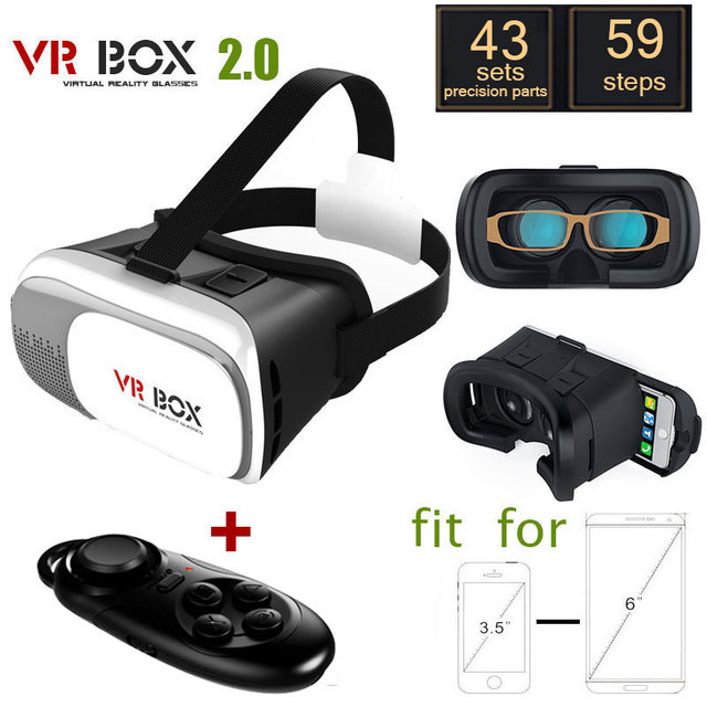 2016 Google cardboard VR BOX II 2.0 Version VR Virtual Reality 3D Glasses For 3.5 - 6.0 inch Smartphone+Bluetooth Controller 1.0