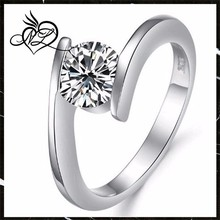 Platinum Plated White Gold Rings New Design Style Inlaid Cz Cubic Zirconia For Lady