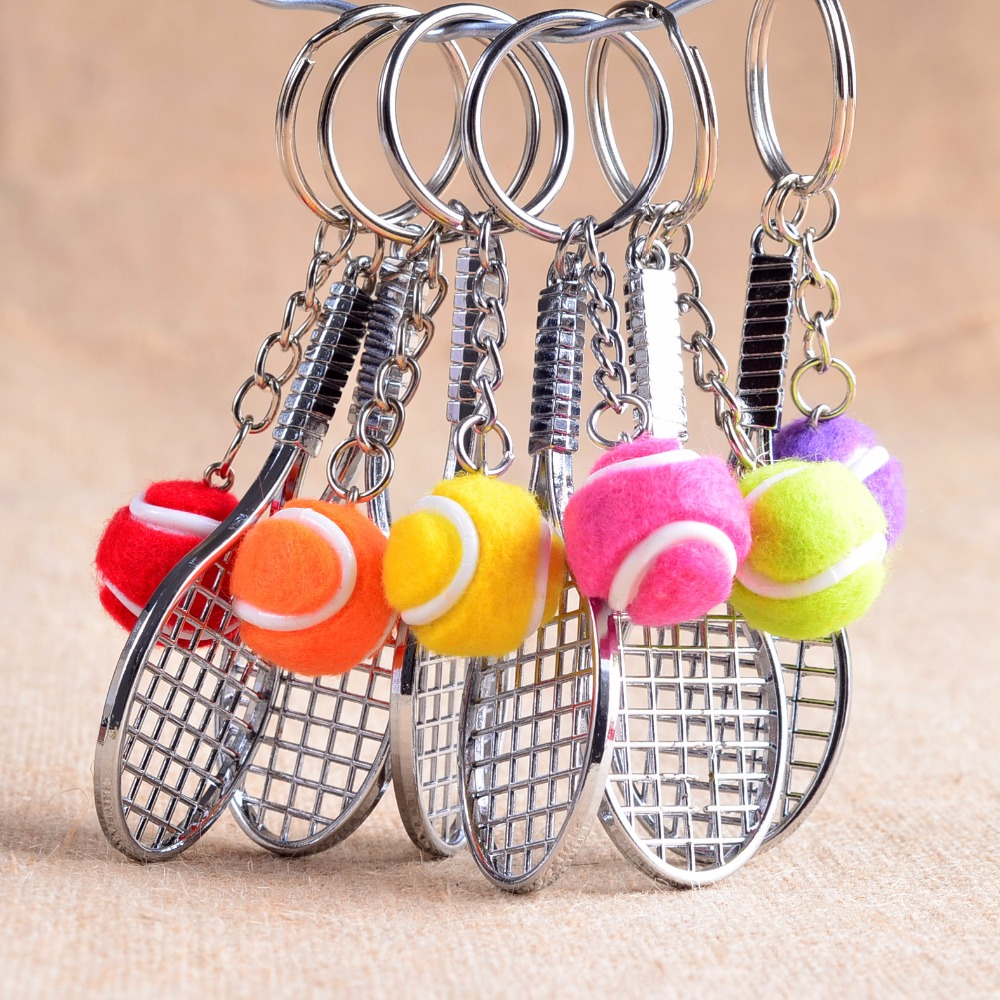 2017 new tennis racket metal keyring cut out shape keychain for sport