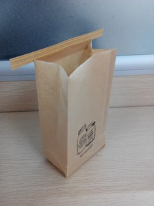 kraft paper pouches with one-way valve/flat bottom coffee bag/kraft paper bag with tin tie