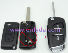 New arrival modified peugeot replacement key shell with 2 button with VA2T 307 blade