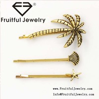 Personalized fashion summer style coconut shell starfish hairpin antique All-match Classical wholesale hair accessories