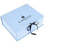 Satin ribbon Cardboard Folding Gift Boxes Black UV logo Rigid Folded Paper Boxes