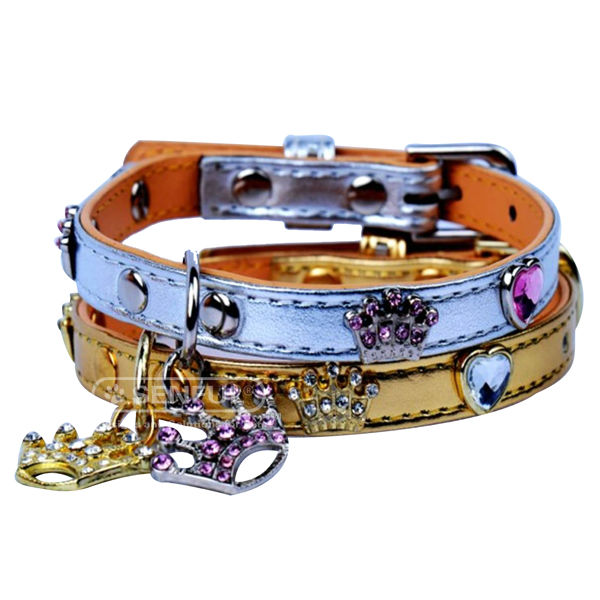 Handmade PU pet colloar With Metal Buckle Leather dog Collar
