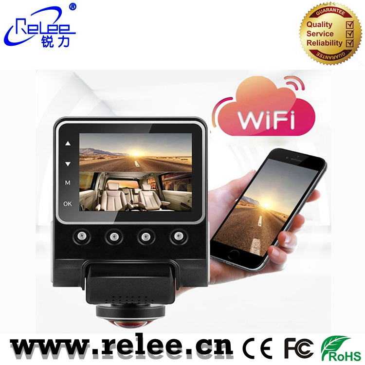 New arrival 2.5 inch LCD hd wifi car camera 360 degree video recorder dashboard camera with G-sensor