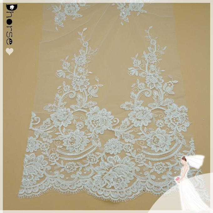 Wholesale cheap custom white bridal embroidered tulle lace fabric DH-BF737