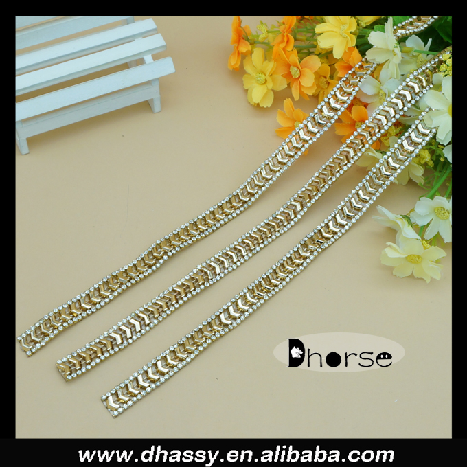 Gold metal cup chain border 13 mm rhinestone chain trim wholesale
