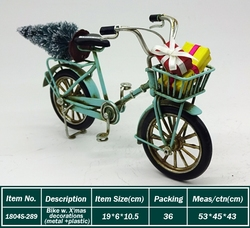 three wheels old metal bike model with christmas tree X'mas gift bicycle model as decor