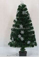 Fiber Optic Christmas Tree With Snowflake Decoration, Holiday Time, Changing Color