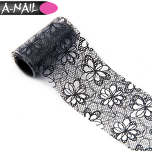 Lace Flower Design Tip Decoration Black / White Nail Art Transfer Foil Manicure Sticker