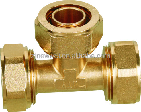 brass fitting for aluminum composite plastic pipe/PEX pipe fitting/brass connector equal tee