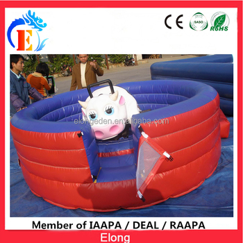 Elong High Quality Inflatable Mechanical Toys, inflatable crazy bull ride amusement