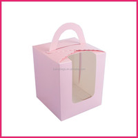cute design pink color plastic window take away cake box
