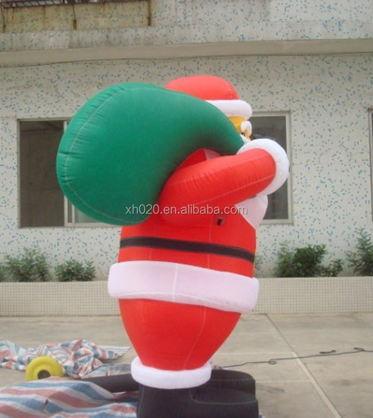 Inflatable Giant Santa With Gift And Candy Cane Customized Size Christmas Holiday Yard Decoration