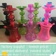 Best selling clear glass shisha hookah/nargile/water pipe/hubbly bubbly with good quality and led light