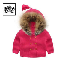 Wholesale Baby Clothes children knitted jacket with raccoon fur collar
