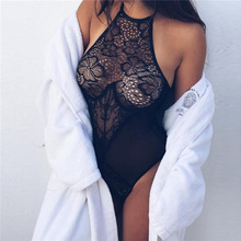 Hot Image Halter Women Dress Floral Lace Teddy Babydoll Alluring Black Dress Sleepwear Semi-sheer Sexy Lingerie