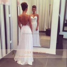 2015 Sexy Summer Sweetheart Spaghetti Straps Hot Chiffon Lace Beach Backless Wedding Dress