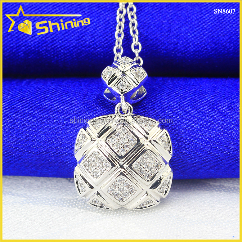 women unisex antique design square shape s925 silver pave diamond pendant jewelry