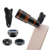 Amazon Hot Selling Mobile Phone Lens Clip Wide Angle/Macro/Fisheye/12x Zoom Telescope 4 in 1 Camera Lens for iPhone & Samsung