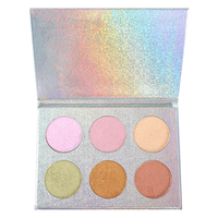 Wholesale Makeup pressed face powder 6 colors bronzer and highlighter powder palette high shimmer contour glow kit