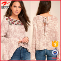 Latest fashion design embroidered long sleeve top for women