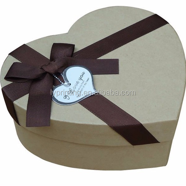 Nice heart shape paper chocolate box with ribbon