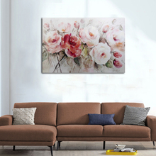 Acrylic beautiful peony flower designs fabric oil painting pictures of flowers