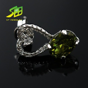 Popular natural green peridot silver earrings