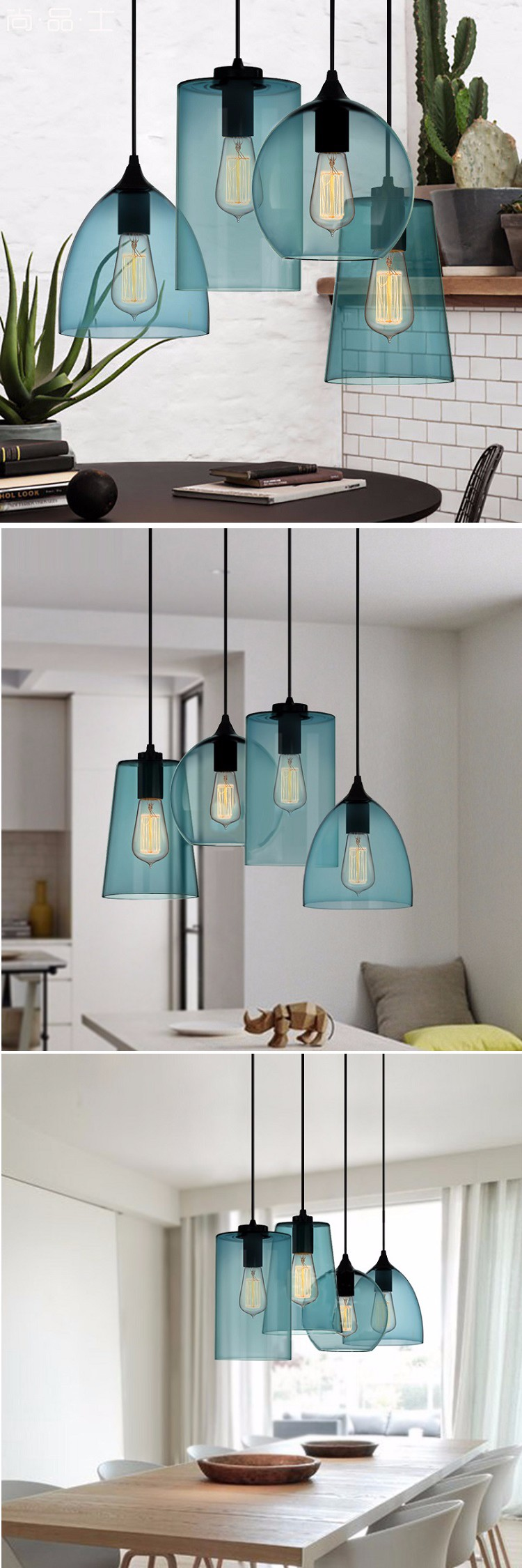 New Modern Blue Glass Shade Hanging Light Ribbed Dinning Room Glass Droplight