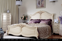 Bedroom Furniture fabric bed solid wood carved