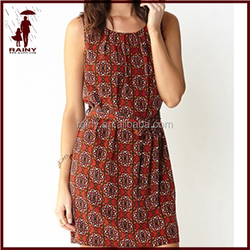 Roman Style hot-selling printed chiffon lady dress
